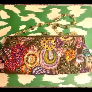 Handbags - Evening Embroidered Bag - 10 x4 green with floral